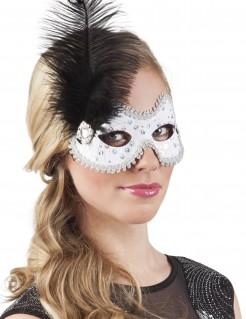 Venezianische Augenmaske mit Strasssteinen und Feder weiss-silber-schwarz