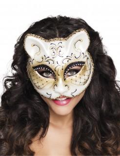 Katzen-Maske Venezianische Maske für Damen weiss-gold-schwarz