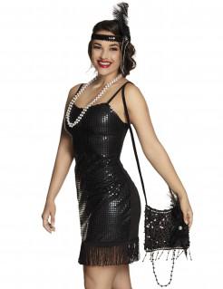 20er-Jahre Charleston Tasche für Damen schwarz 20 x 18 cm