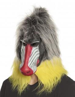 Pavian-Maske Tiermaske grau-gelb