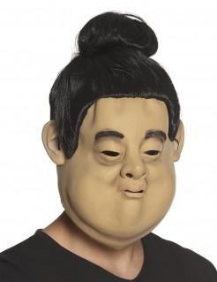 Witzige Sumo-Maske Sumoringer-Maske gelb-schwarz