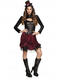 Steampunk-Kostüm für Damen schwarz-rot