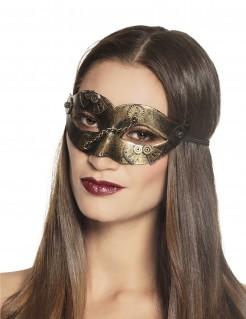 Glänzende Steampunk-Augenmaske gold