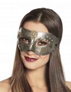 Steampunk-Augenmaske für Damen mit Zahnrädern silber-gold