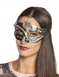 Steampunk-Damenmaske Augenmaske silber