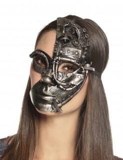 Steampunk-Halbmaske Roboter-Maske schwarzsilber
