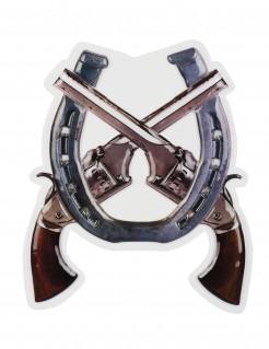 Western-Pistolen Wanddekoration silber-braun 47 x 40 cm