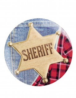 Sheriffs-Anstecker-Set Wilder Westen 4 Stück bunt 5,5cm