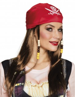 Bandana Pirat Kostüm-Accessoire rot-weiss