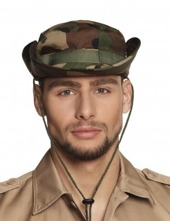 Militär-Hut für Erwachsene Camouflage Kostümaccessoire grün-braun