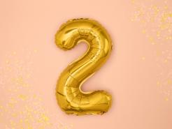Aluminium-Ballon Zahl 2 Dekoration gold 36cm