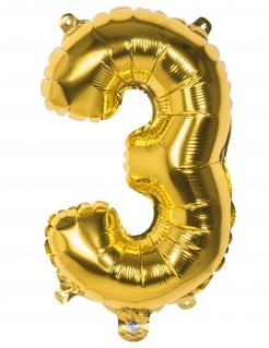 Aluminium-Ballon Zahl 3 gold 36cm