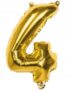 Aluminiumballon Zahl 4 gold 36cm