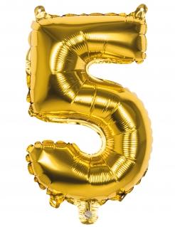 Alumninium-Ballon Zahl 5 gold 36cm