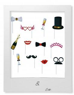 Hochzeit Foto-Accessoire-Set mit Rahmen 13-teilig bunt
