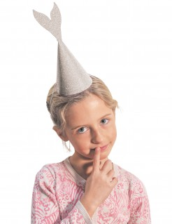 Meerjungfrauen-Hüte Partyhüte Schwanzflosse 6 Stück silber 21cm