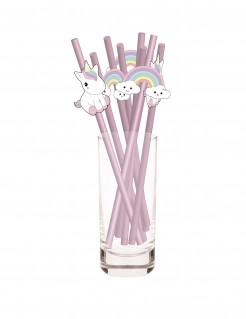 Einhorn-Trinkhalme 10 Stück rosa
