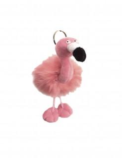 Flauschiger Flamingo-Schlüsselanhänger rosa