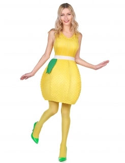 Zitronenkostüm für Damen Faschingskostüm gelb-grün