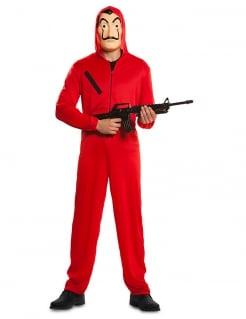 Haus des Geldes™-Lizenzkostüm für Erwachsene La Casa de Papel™ Bankräuber-Kostüm rot