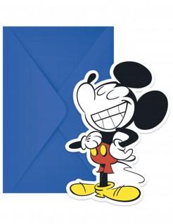 Micky Maus™-Einladungskarten mit Umschlägen Retro-Motiv blau-bunt 6 Stück