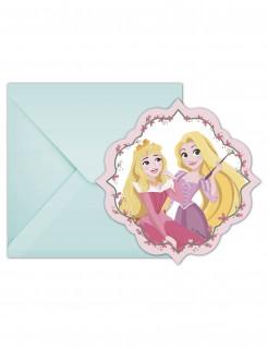 6 Disney Princess ™ Einladungskarten mit passenden Umschlägen