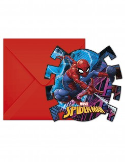 Spiderman™-Einladungskarten mit Umschlag 6 Stück rot-blau