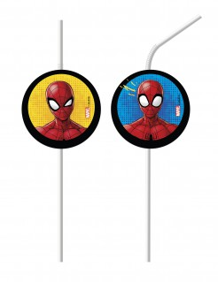 6 Spiderman ™ Medaille-Trinkhalme offiziell lizensiert