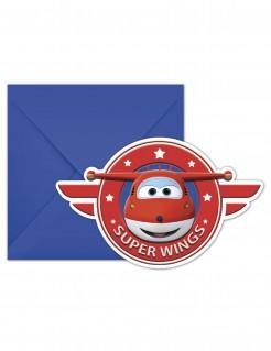 Super Wings™ Einladungskarten-Set 6 Stück blau-rot-weiss