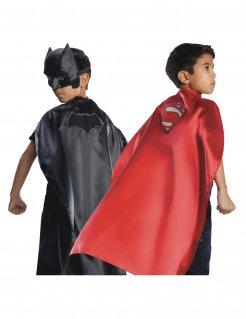 Superhelden-Wendeumhang Batman™ und Superman™ für Kinder schwarz-rot