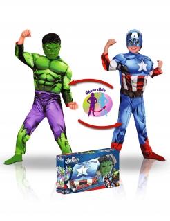 Marvel™-Kinderkostüm Hulk™ und Captain America™ wendbares Kostüm bunt