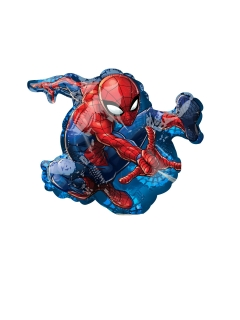 Spiderman™-Ballon Marvel™-Folienballon rot blau schwarz 17x25cm