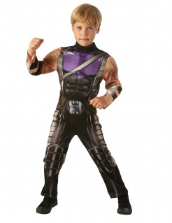 Muskulöses Hawkeye-Kinderkostüm Avengers™-Lizenzkostüm schwarz-braun-lila