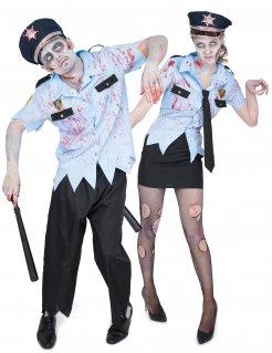 Zombiepolizisten-Kostüm für Paare Halloween-Paarkostüm für Erwachsene blau-schwarz
