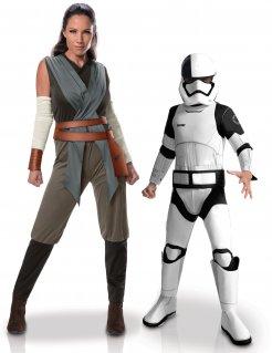 Star Wars™-Paarkostüm Rey™-Damenkostüm und Stormtrooper™-Kinderkostüm grau-schwarz-weiss
