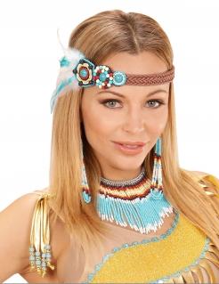 Indianer-Schmuck Set mit Perlen und Federn für Damen 3-teilig bunt