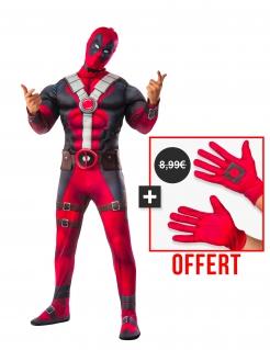 Muskulöses Deadpool™-Kostümset mit Handschuhen rot-schwarz