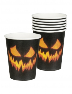 6 Kürbis-Pappbecher Halloween-Dekoration schwarz-orange 250ml