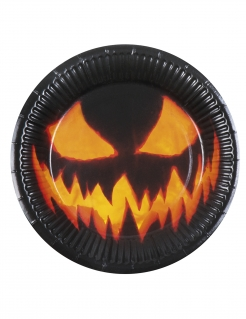 6 Kürbis-Pappteller Halloween-Dekoration schwarz-orange 23cm