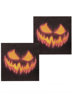 12 Horrorkürbis-Servietten Halloween-Dekoration schwarz-orange 33x33cm