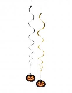 2 Hängegirlanden Kürbis Halloween-Dekoration silber-gold 85cm