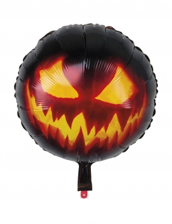 Kürbis-Ballon Aluminium Halloween-Dekoration schwarz-orange 45cm