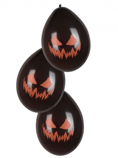 Kürbis-Luftballons Halloween-Dekoration 6 Stück schwarz-orange 25cm
