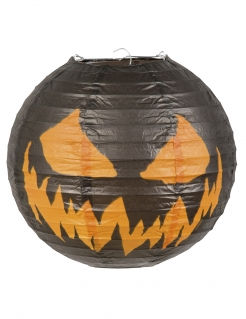 Kürbislaterne Halloween-Dekoration schwarz-orange 25cm