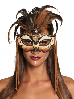 Voodoo-Augenmaske Halloween-Accessoire braun-schwarz