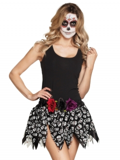 Totenkopf-Rock für Damen Día de los Muertos Halloween-Accessoire schwarz-weiss
