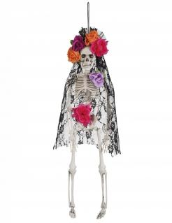 Witwenskelett Hängefigur Día de los Muertos Halloween weiss-bunt 40cm