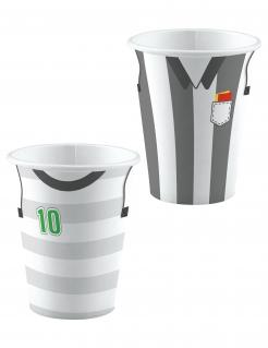 Fussball-Trinkbecher Tischdekoration 8 Stück grau-weiss 250 ml