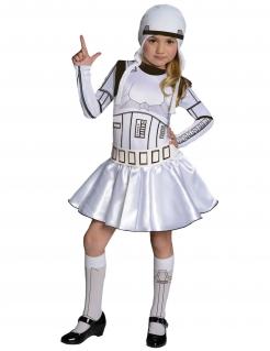 Stormtrooper™-Kostüm für Mädchen Star Wars™ Karneval weiss-schwarz