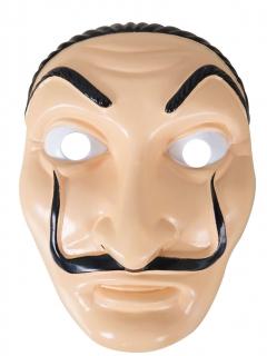 Bankräuber-Maske mit Schnurrbart hautfarben-schwarz